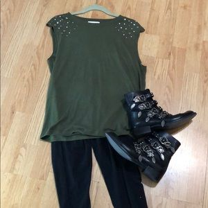Sleeveless and embellished army green t
